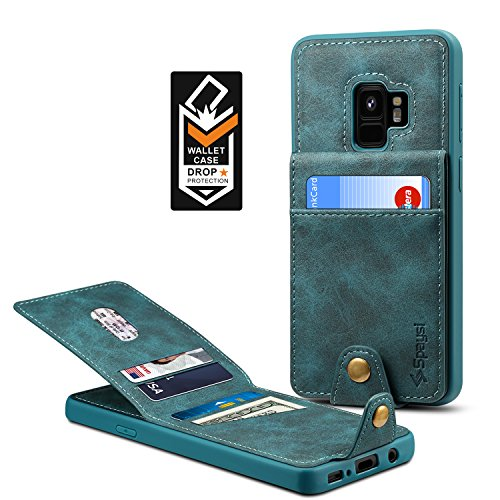 Samsung Galaxy S9 Wallet Case for Galaxy S9 Credit Card Case Spaysi Galaxy S9 Leather Wallet Case for S9 Magnetic Closure Kickstand Gift Box (Blue) by Spaysi