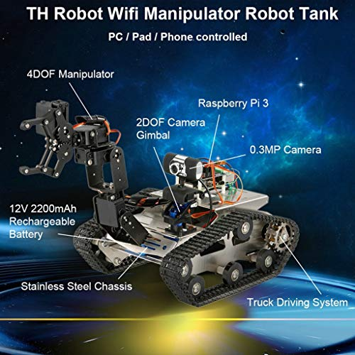 FORESTIME RC Tank TH Robot WiFi Smart DIY Crawler RC Robot Tank 480P Camera RC Auto (Black, Big) by FORESTIME (Image #8)