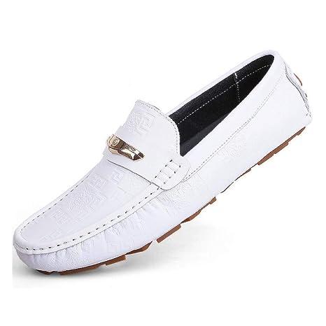 FuweiEncore Zapatos de Cuero para Hombre Verano/otoño Mocasines cómodos y Zapatillas sin Cordones Zapatillas