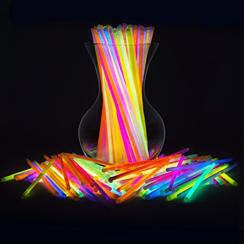 "Glow Sticks Bulk 200 Count for Halloween - 8"" PartySticks Brand Premium Glow In The Dark Light Sticks - Makes Tons of Glow Necklaces and Glow Bracelets (2 Tubes of 100)"
