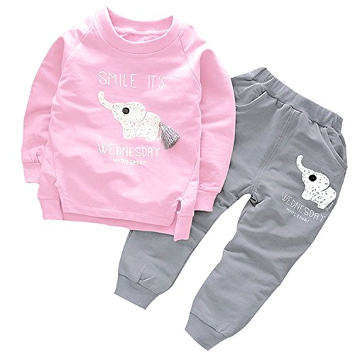 (Mini Angel Toddler Kids Baby Girl Cute Elephant Print Clothes Set Long Sleeve T-Shirt +Pants 2Pcs Outfit (Pink, Age(4T)))