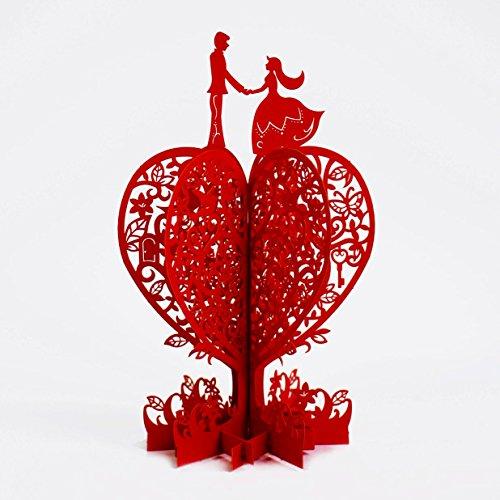 Handmade 3D Pop Up Rose Flower Birthday Cards Creative Greeting Cards Papercraft (3d Card Heart)