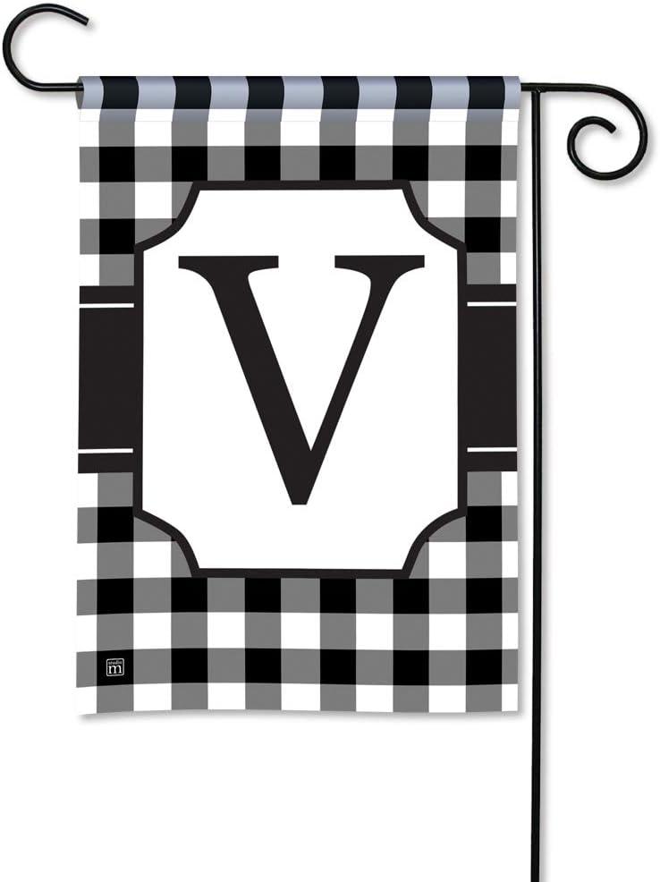 BreezeArt Studio M Black & White Check Monogram V Decorative Garden Flag – Premium Quality, 12.5 x 18 Inches