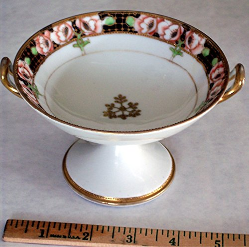 """Nippon nut / candy dish bowl Compote on tall Pedestal, Hand-Painted with Gold Handles and trim, or """"open salt"""", vintage (Nippon Nut)"""