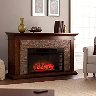 Southern Enterprises Canyon Heights Electric Fireplace Whiskey Maple