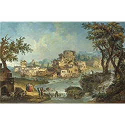 Oil Painting 'Michele Marieschi Buildings And Figures Near A River With Rapids ' Printing On Polyster Canvas , 30 X 46 Inch / 76 X 116 Cm ,the Best Bar Artwork And Home Decor And Gifts Is This Reproductions Art Decorative Prints On Canvas