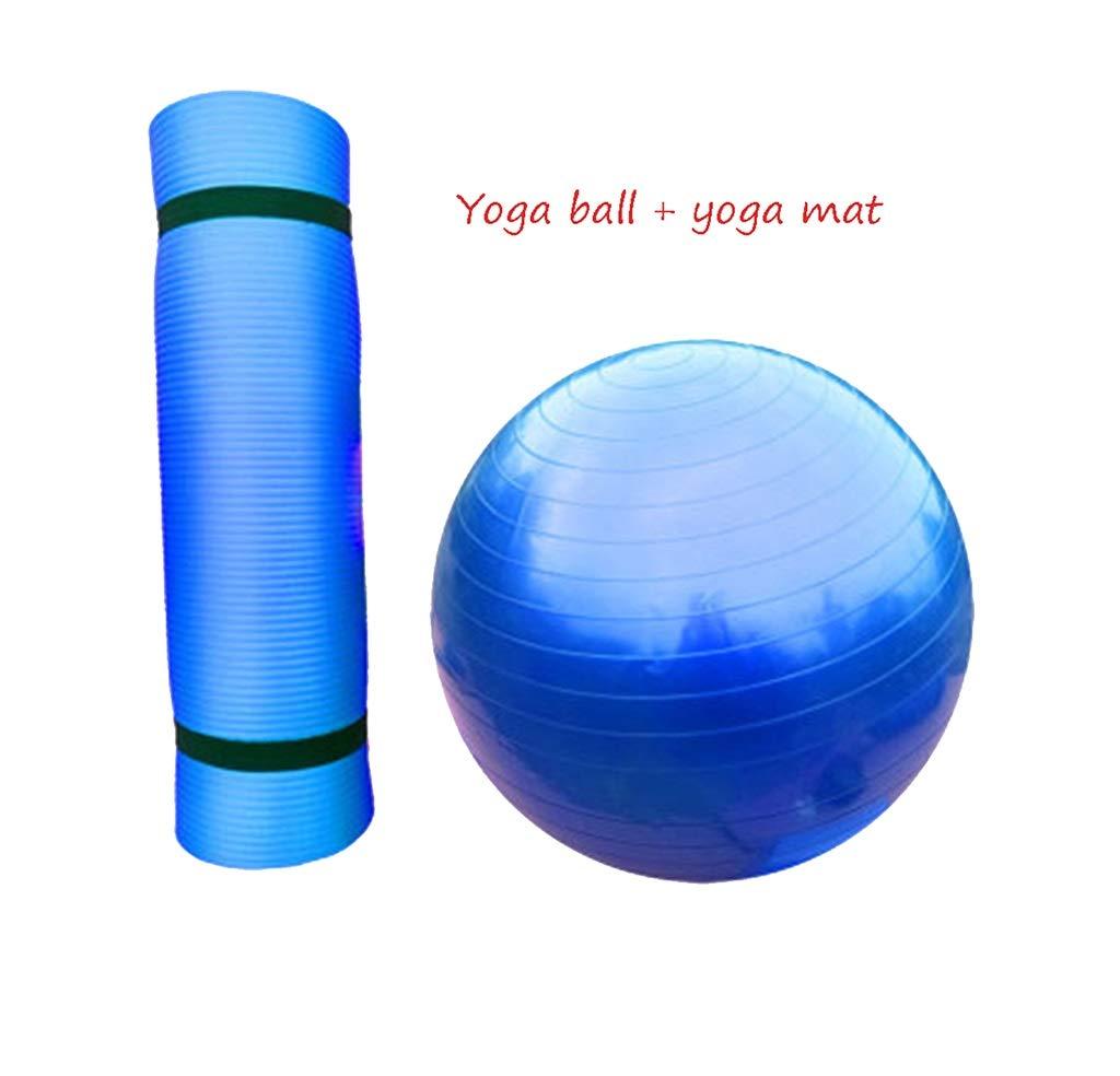 HCJYJQ GUORONG Yoga Ball + Yoga-Matte, Kind Erwachsene Gym Ball Anfänger Balance Ball Schwangere Frauen Geburt Ball Rutschfest Schwangere Frau Pilates Yoga-Ball (Farbe :  2, größe : 85cm)