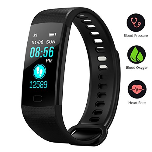 BONNIEWAN Fitness tracker with heart rate color screen activity tracker and blood pressure monitor, IP67 waterproof sleep monitor, calorie counter pedometer 6 sport mode for Kids Women Men