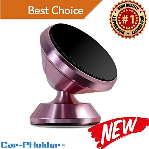 Car Phone Holder Magnetic Mount Universal 360 Rotation Stand Metal Mobile Phone Holder for Car Dashboard Mount for iPhone Samsung Android Smartphones GPS Set kit  CAR-PHOLDER  (Pink)