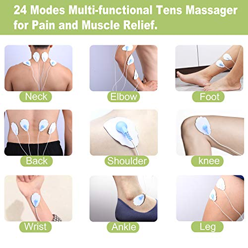 Belifu Dual Channel Tens Unit Electro Muscle Stimulator, Fully Isolated with Independent 24 Modes, Rechargeable Pulse Massager with Electrodes Pads for Neck Back Arms Chronic Pain Relief Body Building
