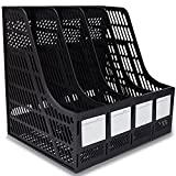 Guerbrilla Plastic 4 Compartments File Rack Paper Holder Desktop File Sorter Magazine Book Holder Organizer, Magazine/File Holders & Labels (black)