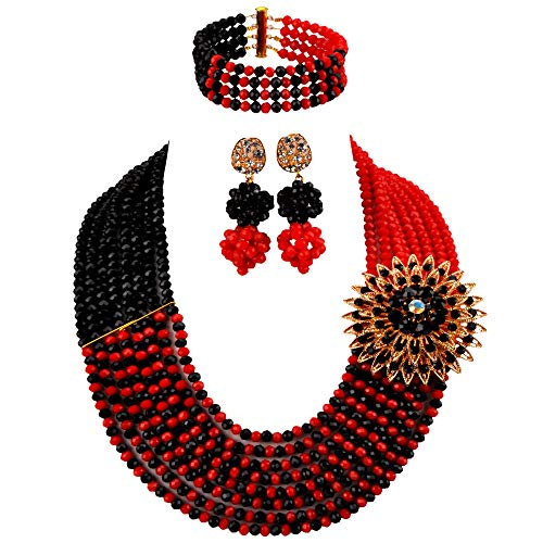 - aczuv 8 Rows African Bead Necklace Jewelry Set for Women Nigerian Wedding Bridal Jewelry Sets (Opaque Red Black)