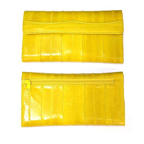 Eel Leather - Genuine Eel Skin Leather Womans Long Wallet Trifold Purse (Yellow)
