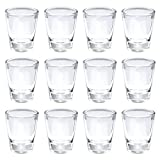 Thirsty Rhino Karan, Round 1.5 oz Shot Glass with Heavy Base, Clear Glass, Set of 12