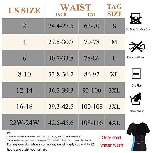 Gotoly Women Neoprene Zipper Front Hot Sweat Slimming Shirt Vest Body Shapers(M Fit 27.5-30.7 inch Waistline, Black) by Gotoly (Image #6)