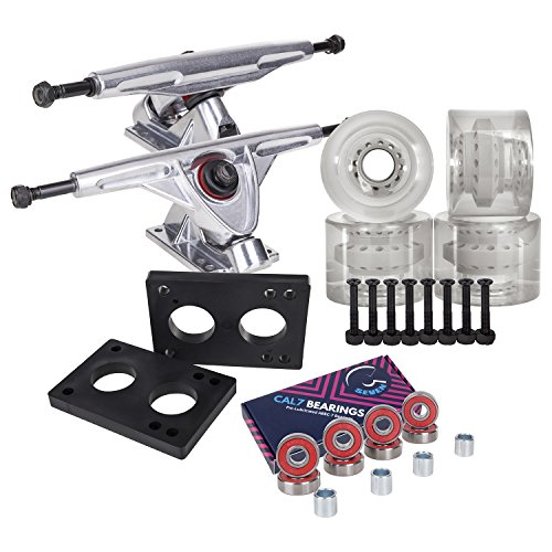 Cal 7 Longboard Skateboard Combo Package with 70mm Wheels & 180mm Lightweight Aluminum Trucks, Bearings Complete Set & Steel Hardware (Silver Truck + Transparent Clear - Truck Deck Steel