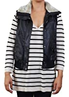 Outerwears Women's Faux Leather Bomber Vest with Faux Fur Collar