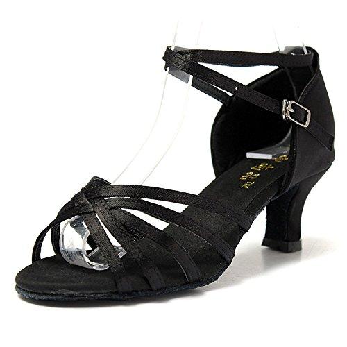 Mujer Zapatos Tacon - Generico 1 par Mujer Zapatos Tacon De Salsa Bachata Latinos Baile Sandalias Latin Shoe, Negro 41