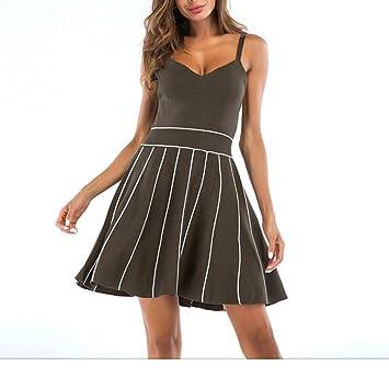 ZSRHH-Falda Vestido de Mujer Tiras Verticales con Cuello en Pico ...