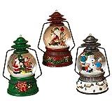 3 pc Light Up Christmas Snow Globe Lantern Fancy Holiday Figurine Santa Snowman