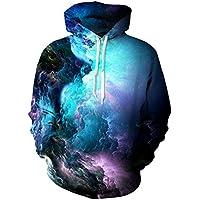 Uideazone Men Women 3D Printed Plus Velvet Hooded Sweatshirt Casual Pullover Hoodie Big Pockets