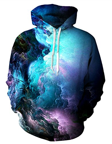 Uideazone 3D Nebula Star Cluster Pullover Hooded Sweatshirt Cool Hoodie Collage