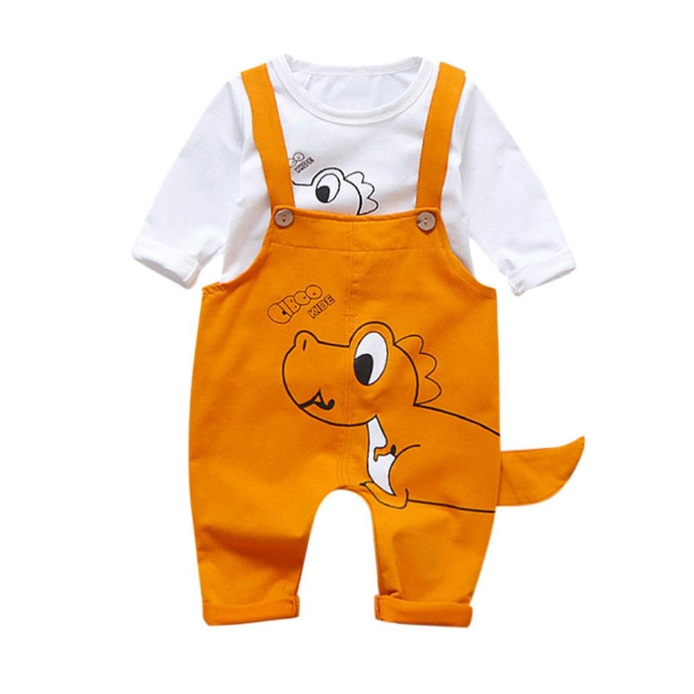 Hatoys 2PCS Cute Lovely Cartoon Dinosaur Tops + Suspenders Pants Outfits Set (24M(Height:95-100CM), Yellow)