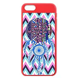 Chevron Aztec Tribal Dream Catcher Inspirational Quote Hard Shell Orange Cover Case for iPhone 5C by lolosakes