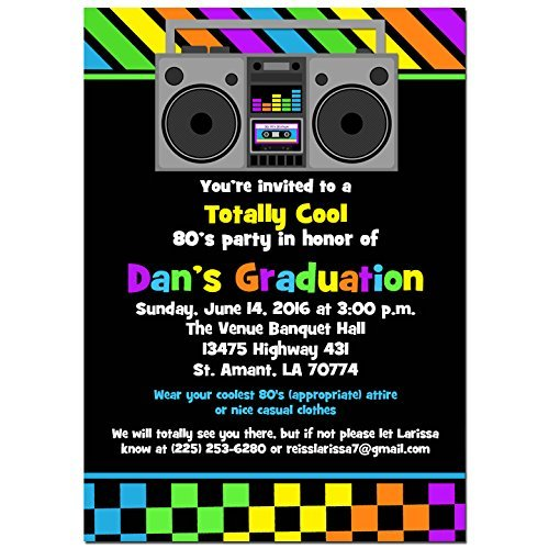 Amazoncom 80s Party Invitations with ANY Wording Printed or