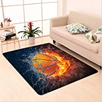 Nalahome Custom carpet Basketball Ball on Fire and Water Flame Splashing Thunder Lightning Image Navy Blue Orange White area rugs for Living Dining Room Bedroom Hallway Office Carpet (2 X 3)