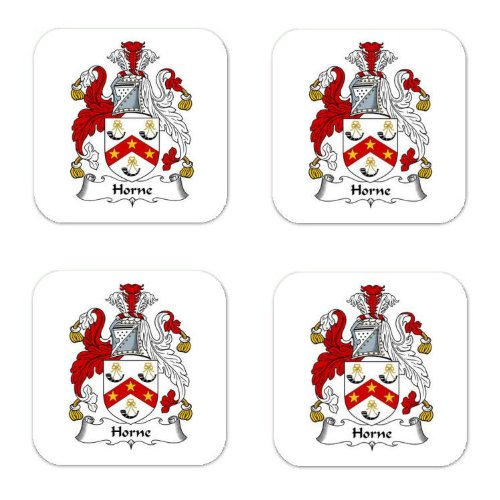Horne Family Crest Square Coasters Coat of Arms Coasters - Set of 4