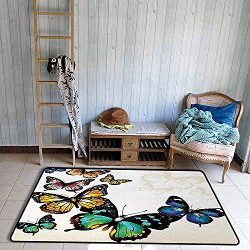 Room Bedroom Floor Rug Butterfly Vivid Monarch Butterflies Flying Shades Shadows Dreamlike Artsy Fantasy Display Personality W39 xL63 Multicolor - Monarch Futon Mattress