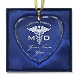 SkunkWerkz Christmas Ornament, MD Medical Doctor, Personalized Engraving Included (Heart Shape)
