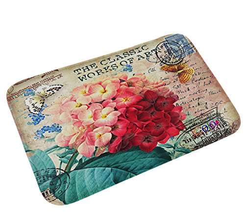 iColor Carpets Floor Mat/Cover Floor Rug Indoor/Outdoor Area Rugs,Washable Garden Office Door Mat,Kitchen Dining Living Hallway Bathroom Pet Entry Rugs with Non Slip Backing (Beautiful flowers0 from iColor
