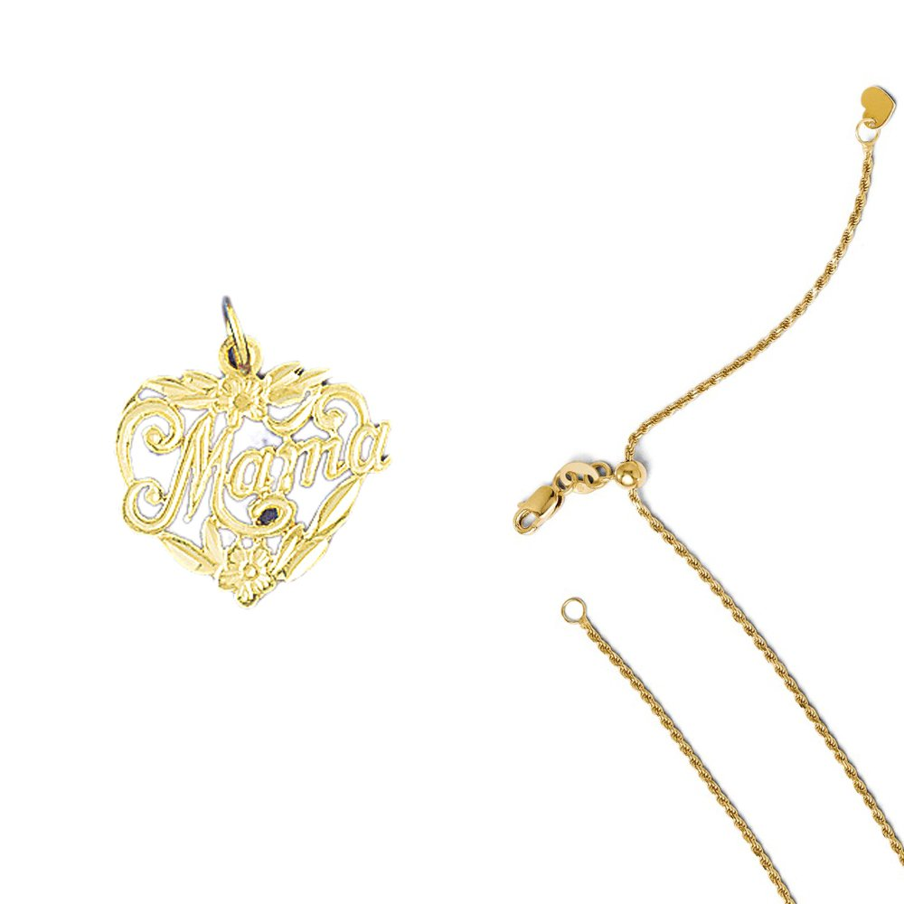 14K Yellow Gold #1 Mama Pendant on an Adjustable 14K Yellow Gold Chain Necklace