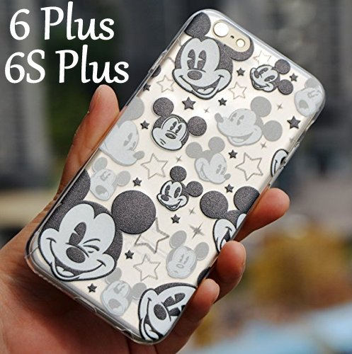 For iPhone 6 Plus   6S Plus Case - Disney Mickey Mouse Faces Soft TPU Black 8912cbe113231