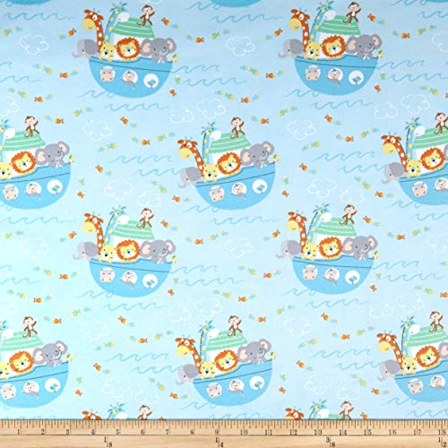 Timeless Treasures Flannel Ark Party Baby Noah's Ark Fabric, Blue, Fabric By The Yard