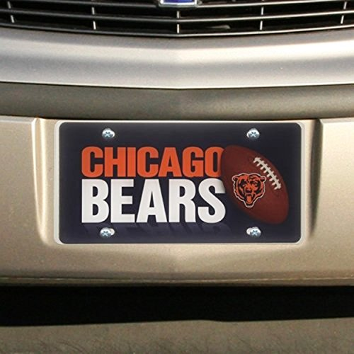 Chicago Bears PV PRINTED Deluxe Acrylic Laser License Plate Tag Football (Laser Plate License Bears Chicago)