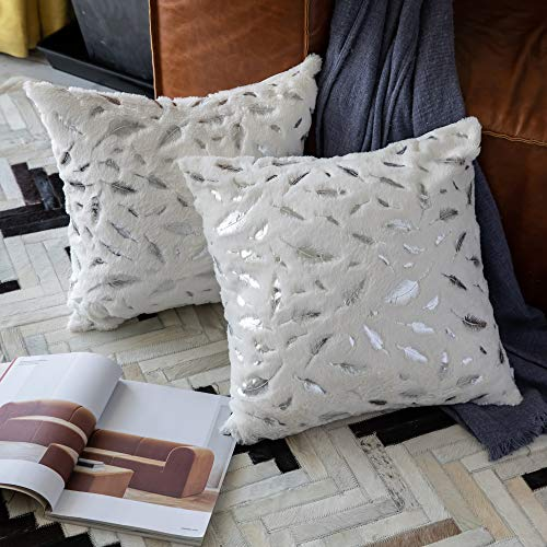 OMMATO Throw Pillows Covers 18 x 18,Set of 2 White Fur with Silver Leaves Soft Throw Pillows for Couch Bed,Accent Home Decorative Square Cushions Cases Shams Pillowcases Farmhouse,45 x 45 cm (Bed White Cushion)