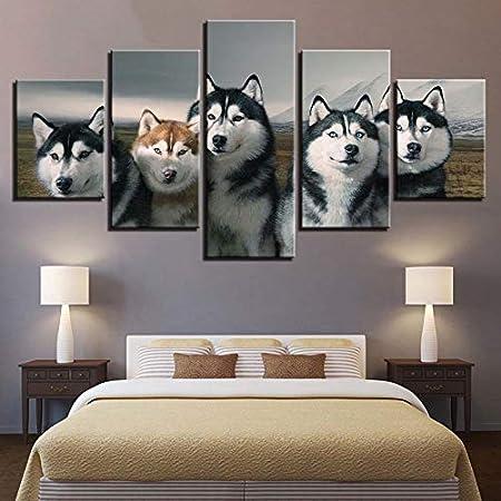 HD Impreso Moderno sobre Lienzo 5 Paneles Perros Animal ...