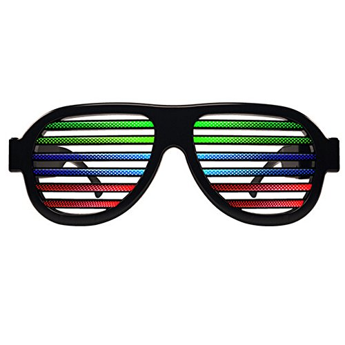 Light Up Shutter Glasses by Glowseen - Sound Reactive - USB Rechargeable Rave Glasses - Black]()