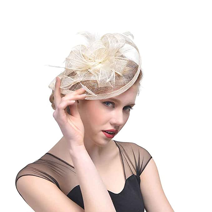 e2e77bd3990 Image Unavailable. Image not available for. Color  Mai Yi Sinamay Fascinator  Hat Tea Party Hats Pillbox Hat Derby Hat for Women