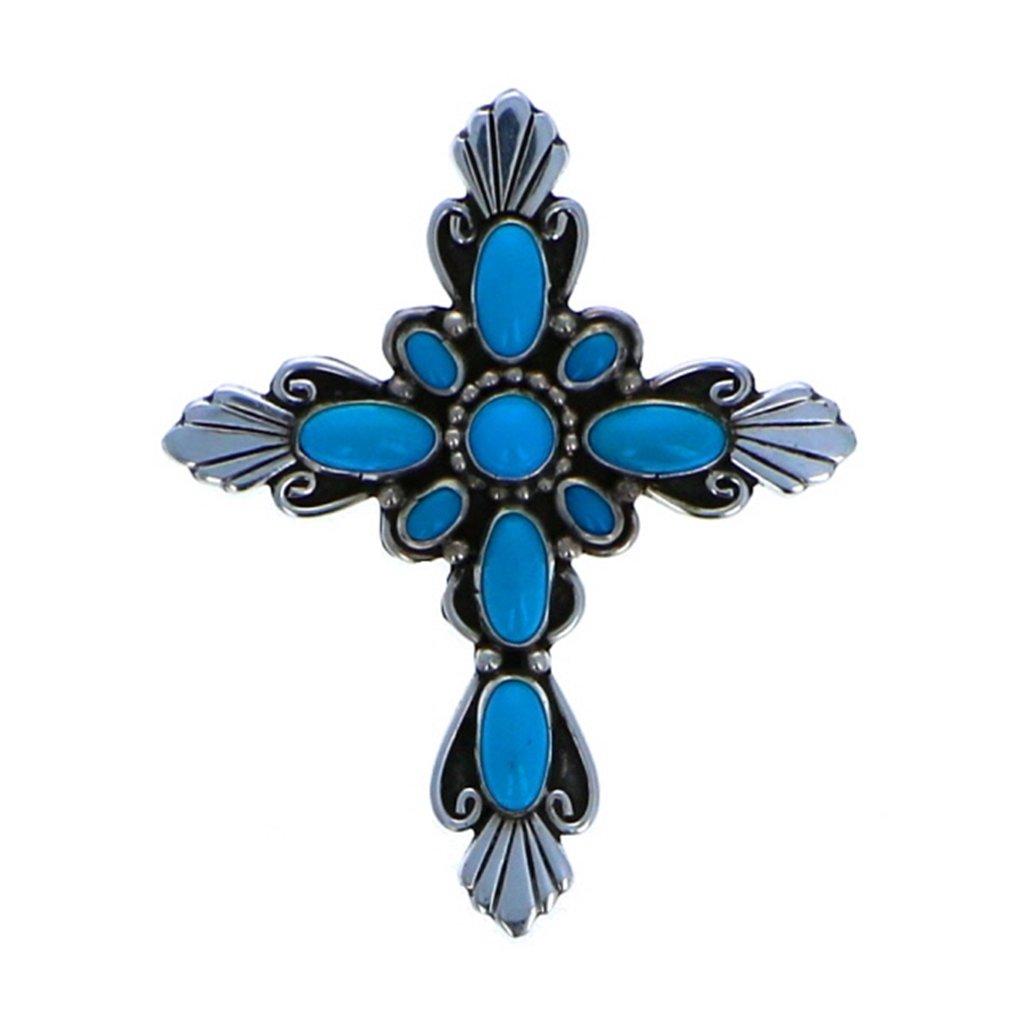 Navajo Artistian Jewelry Sterling Silver 925 Sleeping Beauty Multi Stone Cross Pin
