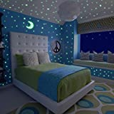 Meloive Glow in the Dark Stars Wall Stickers, Adhesive 532 pcs Dots & 1 Plus Moon Luminous Decals, Fluorescent Ceiling Decor for Kids Bedroom, Nursery or Party
