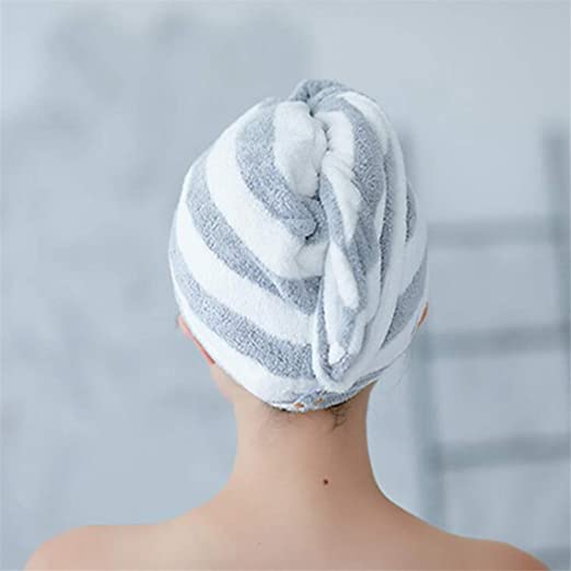 1X Lady Hair Wrap Head Towel Turbie Turban Twist Drying Cap Loop Button Hat CL