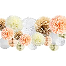 """VIDAL CRAFTS 30 Pcs Tissue Paper Pom Poms Kit (14"""", 10"""", 8"""", 6""""), Paper Flowers, Paper Lanterns and Honeycomb Balls, for Wedding, Baby Shower, Nursery (champagne, peach, ivory, white)"""