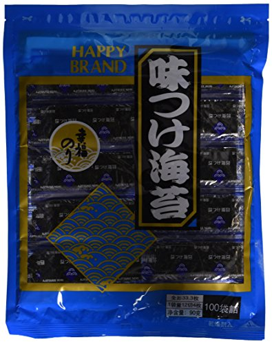 Ajitsuke Authentic Japanese Seasoned Roasted Nori Seaweed - 100 Snack Packets - Fat Free, Light Spicy Flavor - 3.4 Oz ()