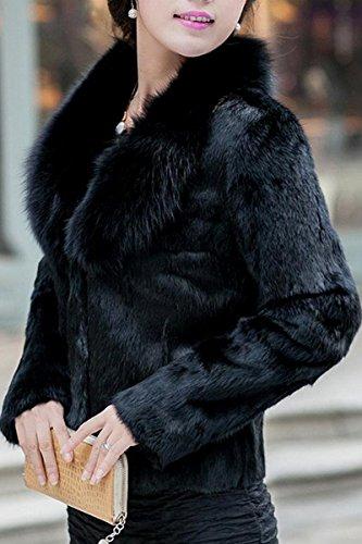 TOOGOO(R)Mujeres Imitacion Vison Pelo Nagymaros Cuello Manga Larga Abrigo Corto Negro-M