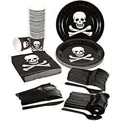 Pirate Party Supplies – Serves 24 – Includes Plates, Knives, Spoons, Forks, Cups and Napkins. Perfect Pirate Birthday Party Pack for Kids Parties.