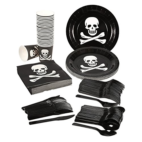 Disposable Dinnerware Set - Serves 24 - Pirate Party Supplies - Includes Plastic Knives, Spoons, Forks, Paper Plates, Napkins, Cups, Black, White (Cheap Halloween Games For A Party)